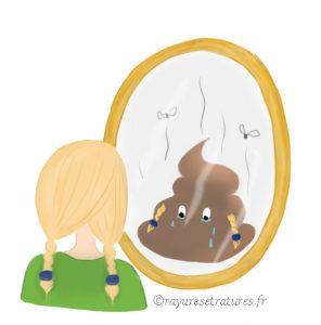 Se déprécier - dévalorisation de soi - estime de soi - je suis un gros caca - illustration