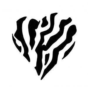 Coeur zèbre Rayures et Ratures - coeur rayé