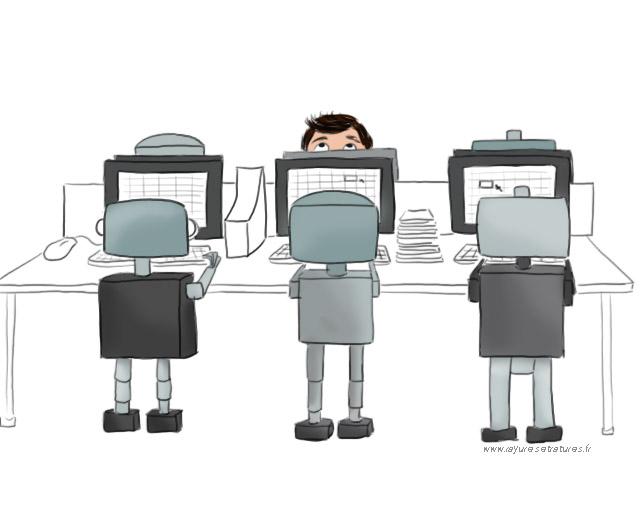 Open space - robot cadre - travail qui n'a pas de sens - envie de reconversion