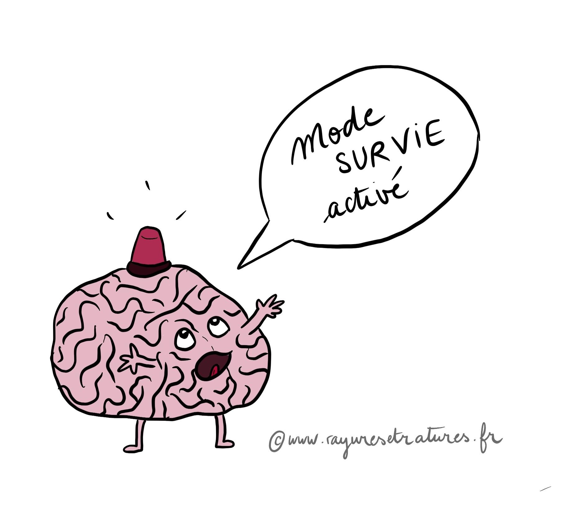 illustration cerveau en mode survie