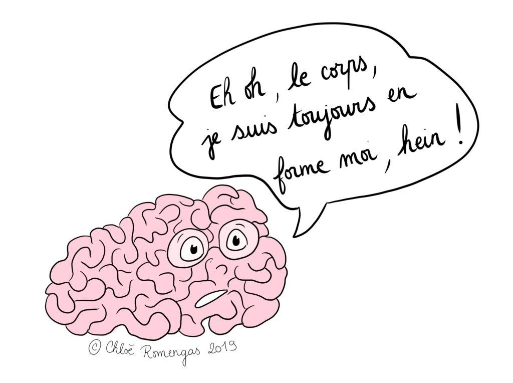 illustration cerveau et corps qui ne suit pas - vieillesse surdoué - zèbre
